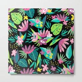 Tropical Flowers & leafs pattern Metal Print