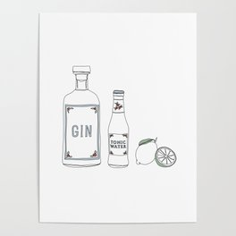 Gin tonic and lime illustration Poster