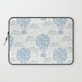 Vintage hot air balloons line drawing pastel blue Laptop Sleeve