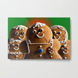Gingerbread Family Metal Print