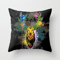 popart Throw Pillows featuring Deer PopArt Dripping Paint by BluedarkArt