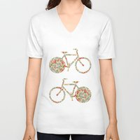 preppy V-neck T-shirts featuring Whimsical cute girly floral retro bicycle by Girly Trend