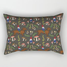 GNOME & DACHSHUND IN THE MUSHROOM FOREST/SOFT BLACK BACKGROND Rectangular Pillow
