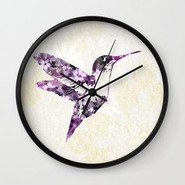 Purple Hummingbird Art Wall Clock