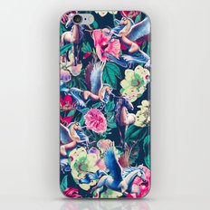 Unicorn and Floral Pattern iPhone Skin