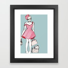 Frazzled Shopper Framed Art Print