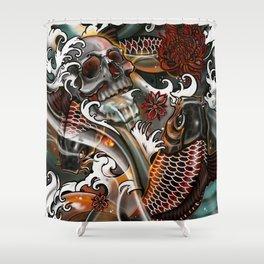 Japanese Koi & Skull by artist Sarah Bliss Rasul Shower Curtain