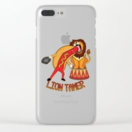 Lion Tamer Hot Dog Putting His Head Into A Lions Mouth Funny graphic Clear iPhone Case