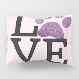 Love is a Four Letter Word - purple paw Pillow Sham