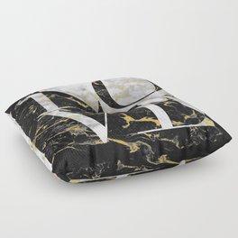 LOVE // Gold Flecked Black & White Marble Floor Pillow