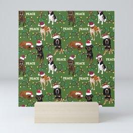 santa hat coonhounds lights green Mini Art Print