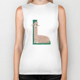 L is for Llama Letter Alphabet Decor Design Art Patter Biker Tank
