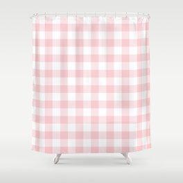 Large Valentine Soft Blush Pink and White Buffalo Check Plaid Shower Curtain
