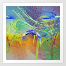 Chaotic worlds collide Art Print