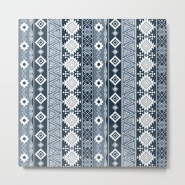 Colorful Aztec pattern with dirty blue. Metal Print