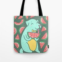 daria Tote Bags featuring Watermelon Dog by Anna Alekseeva kostolom3000