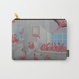 Flamingos In the Bathroom Carry-All Pouch