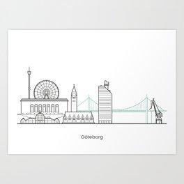 Göteborg in lines Art Print
