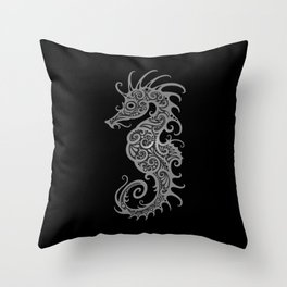 Intricate Gray and Black Tribal Seahorse Design Throw Pillow