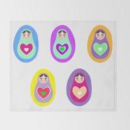 Russian dolls matryoshka, rainbow colors Throw Blanket
