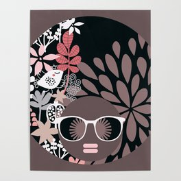 Afro Diva : Sophisticated Lady Pale Pink Peach Taupe Poster