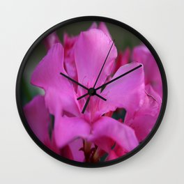 Pink Oleander Flower With Green Leaves in the Background Wall Clock