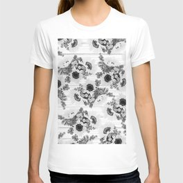 Country rustic black white wood sunflower floral T-shirt