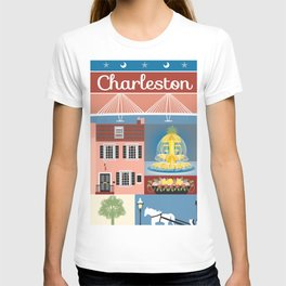 Charleston, South Carolina - Collage Illustration by Loose Petals T-shirt