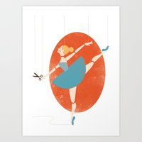 ballerina Art Prints featuring Ballerina by Zara Picken