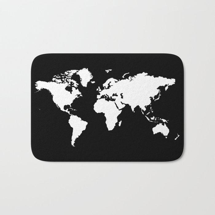 Black white world map Bath Mat