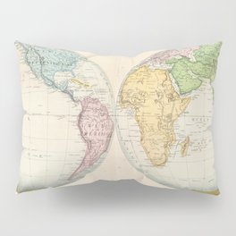 Vintage Map of The World (1862) 2 Pillow Sham