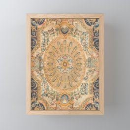 Louvre Fame Carpet // 16th Century Sunflower Yellow Blue Gold Colorful Ornate Accent Rug Pattern Framed Mini Art Print