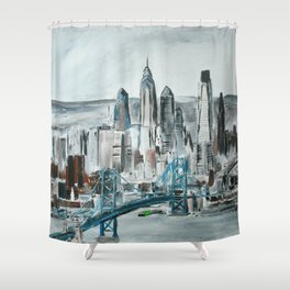 Philadelphia, Pennsylvania, USA Fine Art Acrylic Painting Shower Curtain