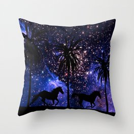 Galloping horses under starry sky Throw Pillow