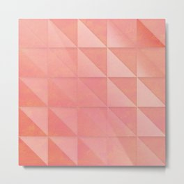 pink coral peach minimal geometric pattern with fading triangle stexture Metal Print