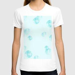 watercolor polka dot-blue T-shirt