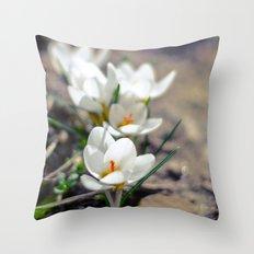 White Crocus  Throw Pillow