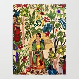 Frida's Garden, Casa Azul Lush Greenery Frida Kahlo Landscape Painting Poster