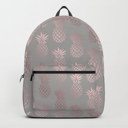 Girly rose gold & grey pineapple pattern Backpack