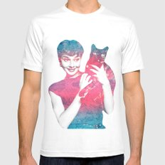 AUDREY CAT White Mens Fitted Tee SMALL