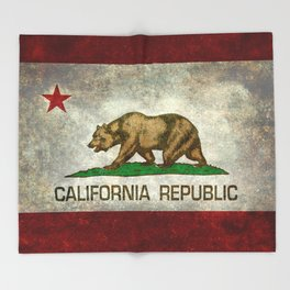 State flag of California in Grunge Throw Blanket