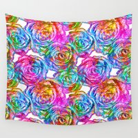roses Wall Tapestries featuring Roses by Aloke Design