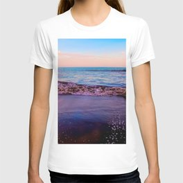 beach sunset with beautiful blue cloudy sky and blue wave in summer T-shirt