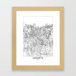 Jakarta White Map Framed Art Print