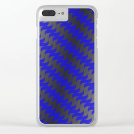 3d Blue Wavy Lines Clear iPhone Case