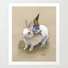 Lady Gnome and Rabbit Art Print