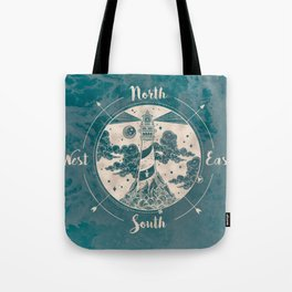 Lighthouse Compass Ocean Waves Gold Tote Bag