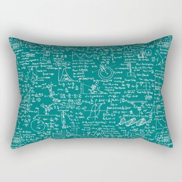 Physics Equations // Teal Rectangular Pillow