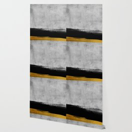 Black and Gold grunge stripes on modern grey concrete abstract backround I - Stripe - Striped Wallpaper
