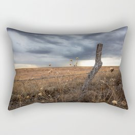 February Rain - Old Fence Post and Storm on Winter Day in Oklahoma Rectangular Pillow
